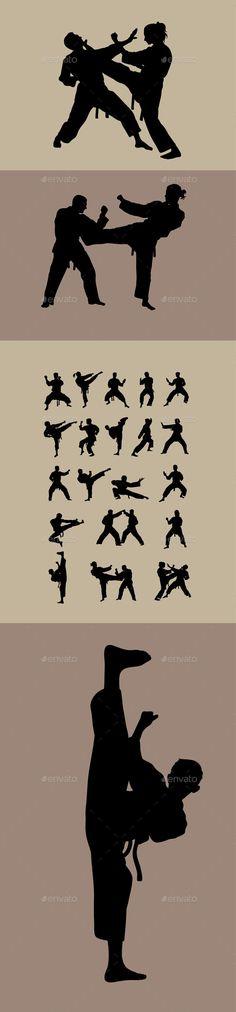 Taekwondo Karate and Taekwondo Silhouettes by martinussumbaji TaekwondoKarate and Taekwondo Silhouettes, art vector design. Ai CS, JPEG and EPS.