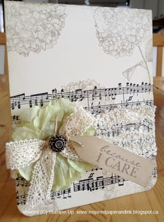 Because I care, Stampin Up card, music wheel, Lace, Flower punch, Antique brads