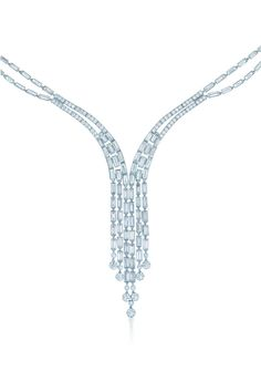 Tiffany & Co. Great Gatsby Jewelry Collection - Tiffany fringe necklace of round and baguette diamonds in platinum