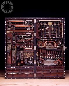 """Studley tool chest, built in the 1800's by piano craftsman Henry O. Studley. In a 40"""" x 18"""" x9"""" deep box, he was able to expertly design spots for around 300 tools."""