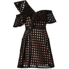 96ae905f85e6 Self-Portrait Women s Guipure Black Frill Mini Dress found on Polyvore  featuring dresses