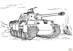 Panther Tank Coloring Page From Tanks Category Select 27252 Printable Crafts Of Cartoons