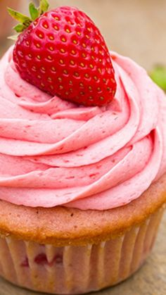 Strawberry Cupcakes with Strawberry Buttercream Frosting Recipe ~ They are overflowing with strawberry flavor and topped with fluffy, melt-in-your-mouth frosting