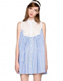 Summer Stripe Babydoll Dresses - Striped Shirtdresses -$69
