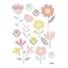 Wandtattoo 'Vintage Blumen' rosa/pastellblau/gelb 12-teilig