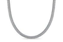 Mesh Chain Necklace With Rhodium Plating