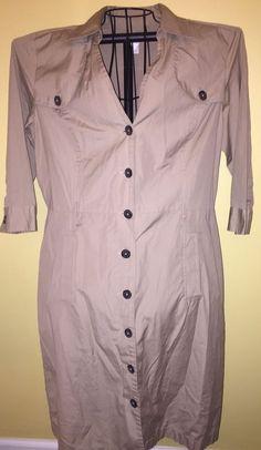 Ann Taylor Loft Sz 16 Shirt Dress Khaki 100% Cotton  #AnnTaylorLOFT #ShirtDress #Casual