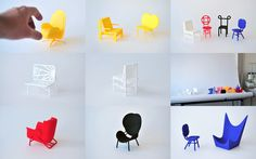 3D printed miniature chairs: the unexisting collection, designed by rjw elsinga. Displayed at Object Rotterdam 2015.