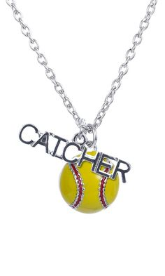 I like thiz but I would want outfield instead of catcher Softball Team Gifts, Softball Jewelry, Softball Necklace, Softball Cheers, Softball Crafts, Softball Shirts, Girls Softball, Softball Players, Softball Stuff