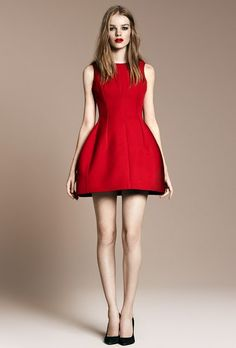 This is like a better version of the little red riding hood. #Zara #Red #Dress