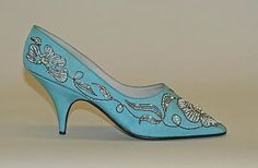 98bdf895432c French evening shoes of aqua silk embroidered with metallic thread    plastic and glass beads for Christian Dior by Dimensions  Length  9 in. cm)  Height (of ...