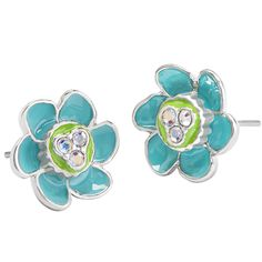 Sparkle time is all the time, especially when the finishing touch to your Troll-themed ensemble is the Trolls Aqua Flower Studs with Swarovski® Crystals.