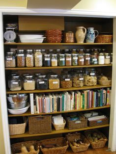 "Pantry inspiration: glass jars and open baskets - by Emily of ""Abide With Me"""