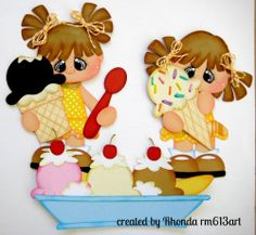 Ice Cream Girls paper piecing set premade scrapbook page Rhonda rm613art