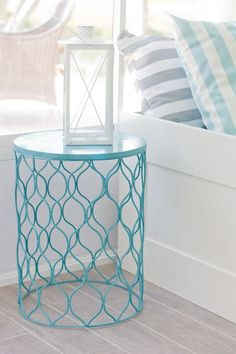 Spray Painted Trash Can Turned Over For Night Stand In Turquoise From House Of Turquoise For