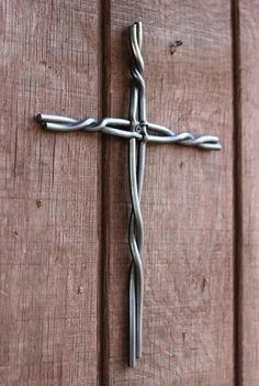 Blacksmith forged Christian cross by SpeckledHenForge on Etsy, $25.00