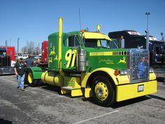 John Deere Truck Someone paint to look like a NASCAR hauler cab Show Trucks, Big Rig Trucks, Old Trucks, Antique Trucks, Vintage Trucks, Antique Tractors, Vintage Tractors, Custom Big Rigs, Custom Trucks