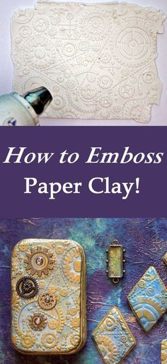 Embossed Paper Clay Technique by Heather Tracy for The Graphics Fairy. Such a fun DIY Craft Technique! Embossed Paper Clay is one of my go-to ingredients for surfaces that are richly detailed, but a breeze to create! Diy Locker, Diy Wood Wall, Easy Homemade Gifts, Diy And Crafts, Paper Crafts, Paper Clay Art, Diy Blanket Ladder, Martha Stewart Crafts, Embossed Paper