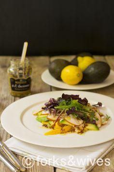 salade met avocado, mango en gerookte kip van Gordon Ramsay