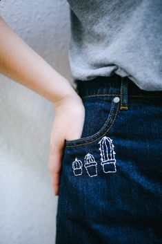 Embroidery Stitches Designs 50 Easy DIY Embroidery Shirt Designs You Can Do By Hand - A closet staple that's currently trending is embroidered apparel. Albeit charming, the quirky embroidery designs you adore are not at the… Diy Word Embroidery, Shirt Embroidery, Embroidery Stitches, Embroidery Designs, Diy Fashion Embroidery, Sewing Stitches, Embroidery Techniques, Ribbon Embroidery, Diy Jeans