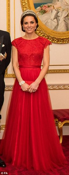 Duchess of Cambridge arrive for the annual evening reception for members of the Diplomatic Corps at Buckingham Palace