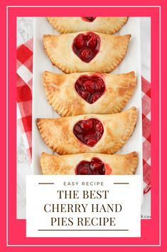 These sweet and adorable cherry hand pies are the perfect treat to share with someone you love. They're easy to make and so delicious! Pie Recipes, Dessert Recipes, Cooking Recipes, Cherry Recipes, Bakery Recipes, Dessert Ideas, Delicious Recipes, Dinner Recipes, Banana Carrot Muffins