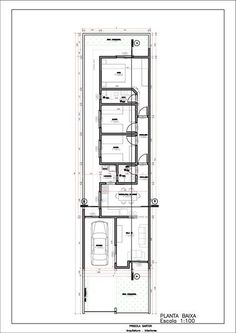 plantas de casas meio terreno 5x25 - Planta de Casa 5 metros de frente Cód 58 So Projetos
