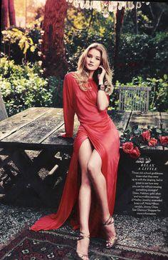 Rosie in red jersey evening high slit gown