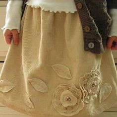 Corduroy Skirt with Flowers | AllFreeSewing.com