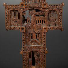 Wood pectoral cross. Mount Athos Work, 18th Century