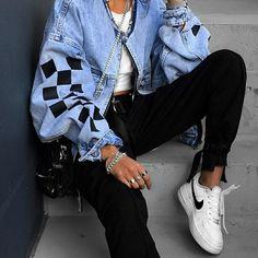 5747605c9b5850 jean jacket | street style | streetwear | nike | casual outfit | fashion |  #. Oversized Black ...