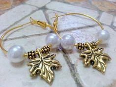 Antique gold  hoop Earrings boho jewelry kabbalah by Arielior, $15.00