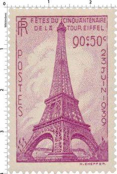 Fêtes du cinquantenaire de la Tour Eiffel (1939) --  French stamp commemorating…