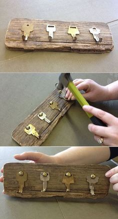 DIY 20 Woodworking Projects Diy, Diy Wood Projects, Home Projects, Handmade Home Decor, Diy Home Decor, Diy Home Crafts, Key Crafts, Ideias Diy, Diy Recycle