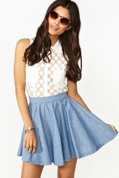 sweet and sassy chambray skater skirt! great almost any body type. Cute with flats or boots! $58