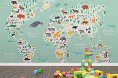 Kids World Map Decal Boy Room Decor Nursery Decor Map With Animals Baby Room Decor Kids Travel Map Animals World Map Decal Gift For Kids
