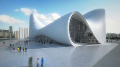 Heydar Aliyev Centre by Zaha Hadid Architects by Dezeen Architectes Zaha Hadid, Zaha Hadid Architects, Famous Architects, Interior Stair Railing, Stair Decor, New Architecture, Education Architecture, Contemporary Architecture, Vertical Gardens