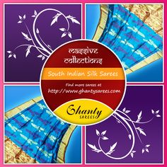 Massive Collection of Pure South Indian Silk.  To shop for South Indian Silk sarees, visit : http://www.ghantysarees.com/category/South-Indian-Silk