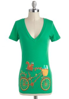 Tour de Forest Top - Green, Yellow, Blue, Brown, Casual, Short Sleeves, V Neck, Mid-length, Novelty Print