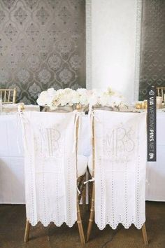 So good - Mr & Mrs Chair Covers | CHECK OUT MORE GREAT WHITE WEDDING IDEAS AT WEDDINGPINS.NET | #weddings #whitewedding #white #thecolorwhite #events #forweddings #ilovewhite #bright #pure #love #romance