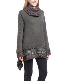 Look at this #zulilyfind! Radzoli Gray Embellished Sidetail Tunic & Infinity Scarf by Radzoli #zulilyfinds