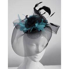 f4cb74e8b4b61 Caprilite Big Black and Turquoise Fascinator Hat Veil Net Hair Clip Ascot  Derby Races Wedding Headband Feather Flower