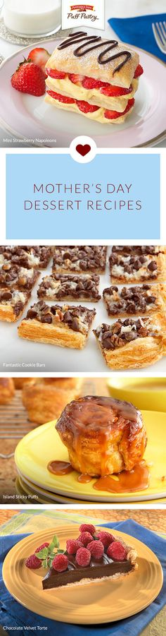 Pepperidge Farm Puff Pastry Mother's Day Dessert Recipe Collection. This collection is perfect whether you're hosting a Mother's Day brunch or looking to spend a Sunday baking with the kids. From sweet Mini Strawberry Napoleons to rich Chocolate Velvet To Mothers Day Desserts, Just Desserts, Delicious Desserts, Dessert Recipes, Dessert Ideas, Yummy Treats, Sweet Treats, Pepperidge Farm Puff Pastry, Good Food
