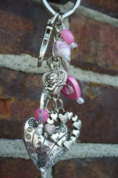 Blooming Hearts Beaded keychain purse ClipPink by DazOriginals, $15.25