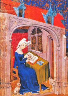 Christine de Pizan, 1st woman in western literature known to make a living from her work, writing a book.