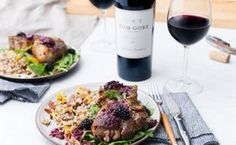 Lamb Chops with Blackberry Pan Sauce and Arugula