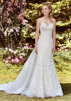 """Rebecca Ingram - DEBBIE Fit-and-Flare Wedding Gown. Stay true to timeless in a relaxed fit-and-flare wedding gown. Then say """"I do"""" to romance in a flirty sweetheart neckline and beaded straps. Perfect Wedding Dress, Dream Wedding Dresses, Designer Wedding Dresses, Bridal Dresses, Wedding Gowns, Lace Wedding, 50s Wedding, Prom Dresses, Sydney Wedding"""