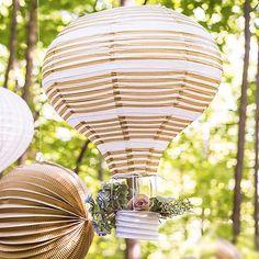 Striped Hot Air Balloon Paper Lantern