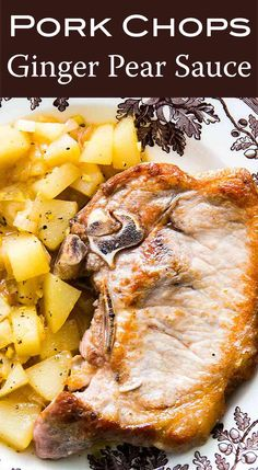 Pan-seared pork chops with a sweet and sour pear and ginger sauce. Perfect for the fall, cooks up in minutes and only uses one pot! Pear Sauce, Ginger Sauce, Pork Tenderloin Recipes, Pork Chop Recipes, Paleo Dinner, Dinner Recipes, Dinner Ideas, Entree Recipes, Seared Pork Chops