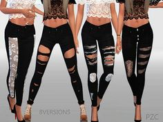 The Sims Resource: Winter black ripped jeans collection by Pinkzombiecupcake • Sims 4 Downloads